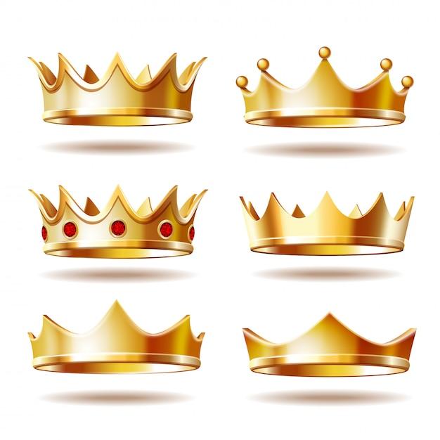 Set van gouden kronen voor koning Premium Vector