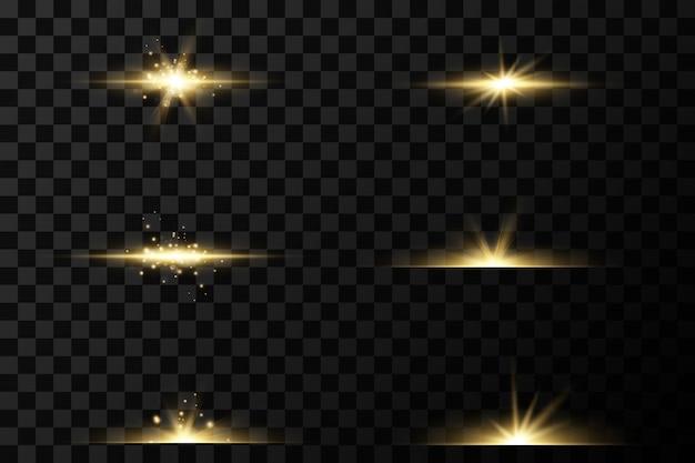 Set van gouden lichteffecten. knippert en staart. heldere lichtstralen. gloeiende lijnen. Premium Vector