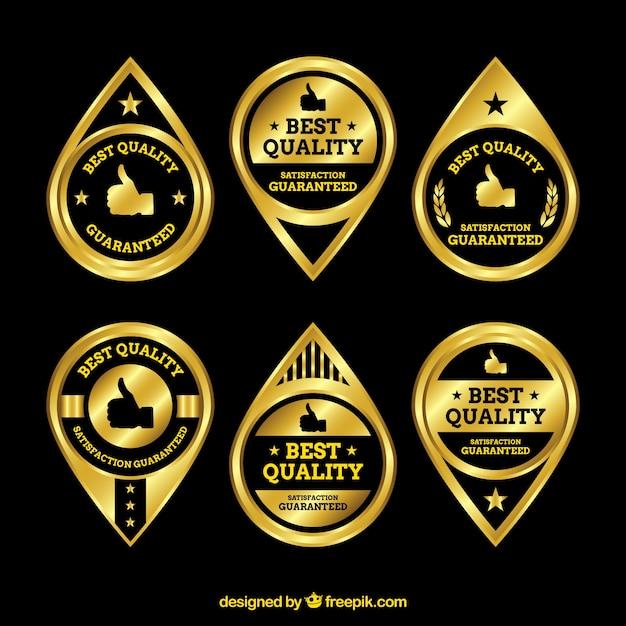 Set van gouden premium stickers Gratis Vector