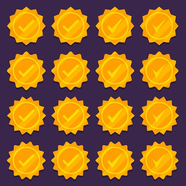 Set van gouden vinkje medaille pictogrammen. Premium Vector