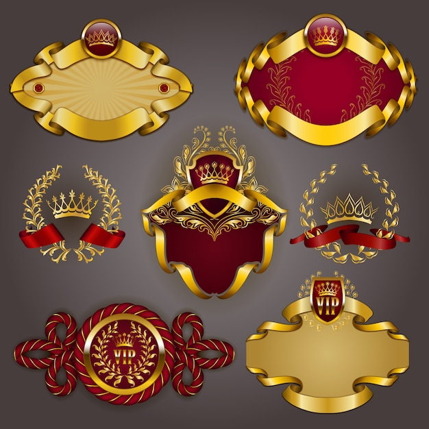 Set van gouden vip Premium Vector