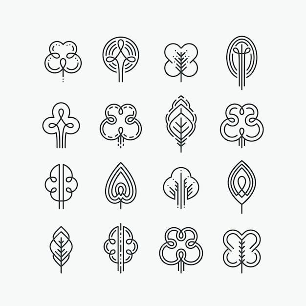 Set van grafische lijn bomen en bladeren, mono line collectie van natuur tekens, logo's en symbolen. Premium Vector