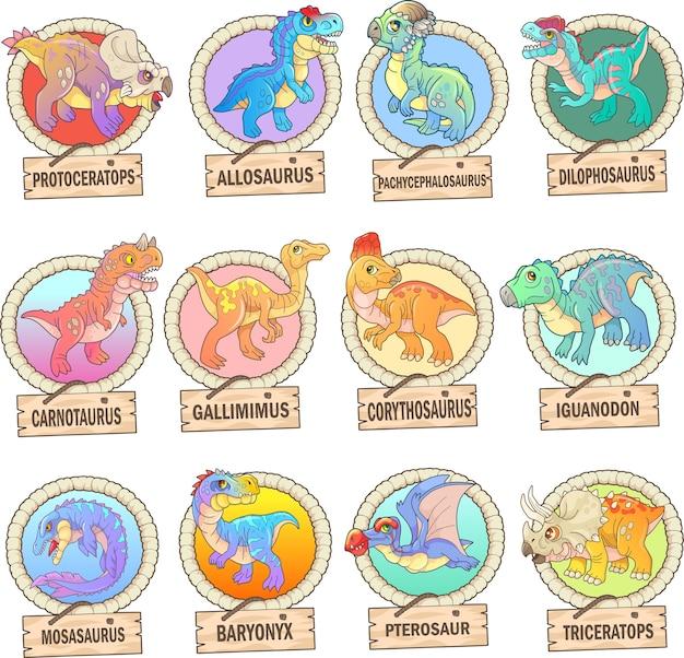 Set van grappige dinosaurussen Premium Vector