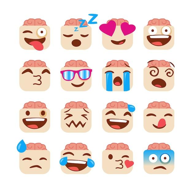 Set van grappige emoji's met zombie gezicht Premium Vector
