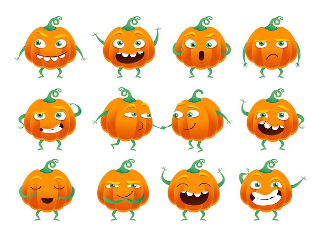Set van grappige halloween pompoenen Premium Vector