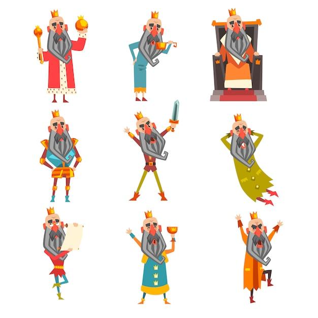 Set van grappige koning in verschillende kleding. stripfiguur van oude bebaarde man met gouden kroon. heerser van het koninkrijk. voor briefkaart of kinderboek Premium Vector
