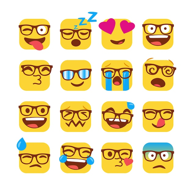 Set van grappige nerd emoji's met een bril Premium Vector