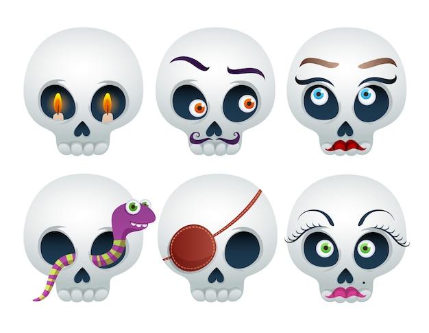 Set van grappige schedels halloween geïsoleerd op wit Premium Vector