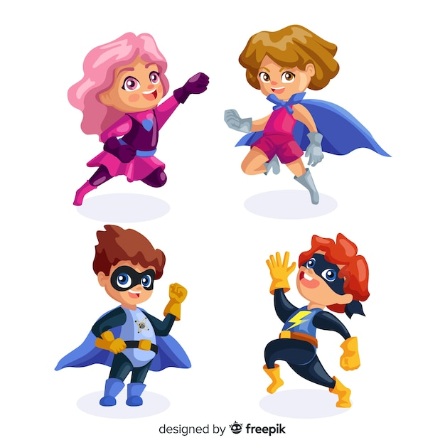 Set van grappige superhelden Gratis Vector