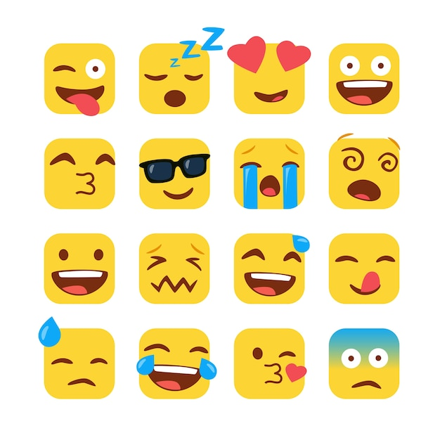Set van grappige vierkante emoji's Premium Vector
