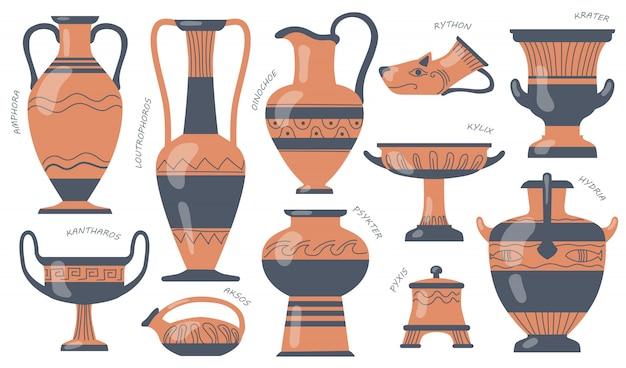 Set van griekse aardewerk kannen Gratis Vector
