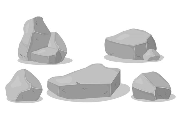 Set van grijze granieten stenen van verschillende vormen. grafietrots, steenkool en rotsen op witte achtergrond. grijze stenen stapel, cartoon pictogrammen. Premium Vector