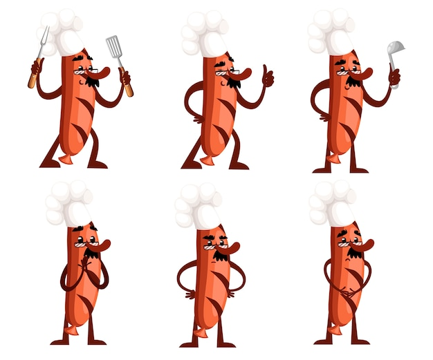 Set van grillworstkarakter. worstmascotte houdt keukengereedschap. het concept van een kok. . illustratie op witte achtergrond. website-pagina en mobiele app. Premium Vector