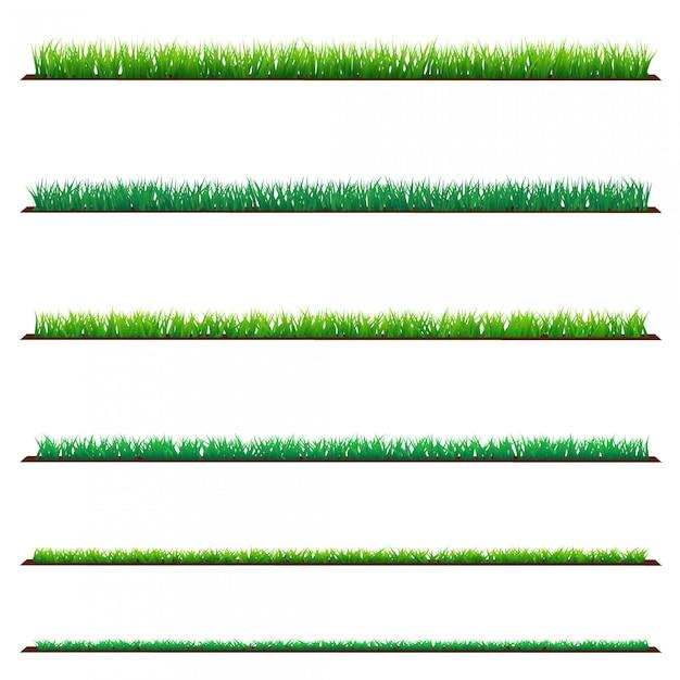 Set van groen gras, geã¯soleerd op wit Premium Vector