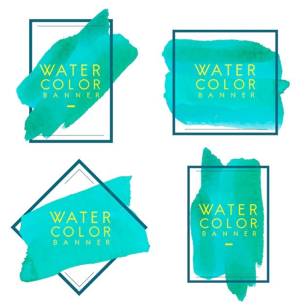 Set van groene aquarel banner ontwerp vector Gratis Vector