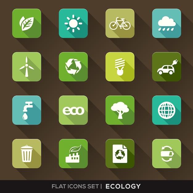Set van groene ecologie flat pictogrammen met lange schaduw Gratis Vector