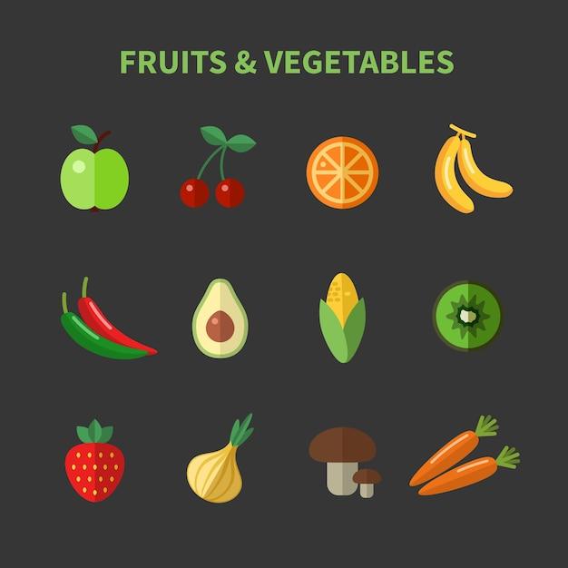 Set van groenten en fruit plat pictogrammen. appel en kers, avocado en maïs en wortelen Gratis Vector