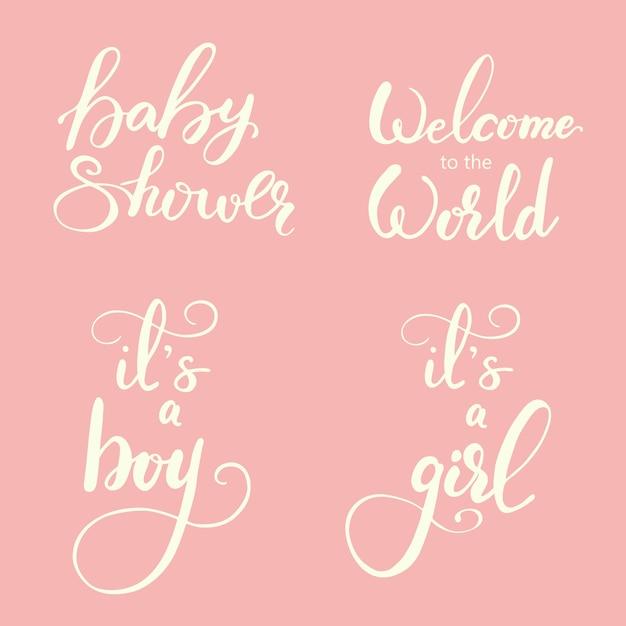 Set van groet letters voor babydouche. vector illustratie. Premium Vector