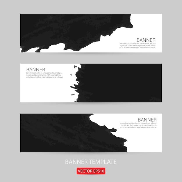 Set van grunge banner sjabloon hand getekend geschilderd bekrast voor promotie Premium Vector
