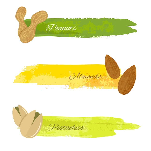 Set van grunge kleurrijke banners met pistachio amandel noten geã¯soleerd op witte vector illustratie Gratis Vector