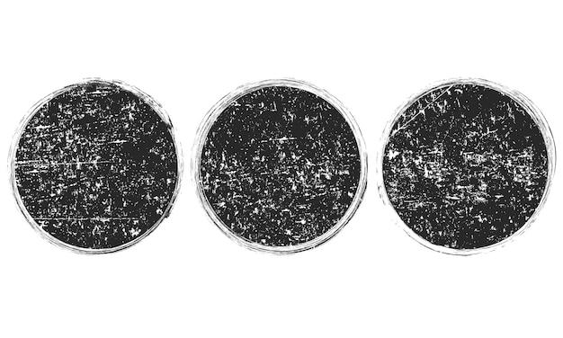 Set van grunge ronde zwarte frames, banners Premium Vector