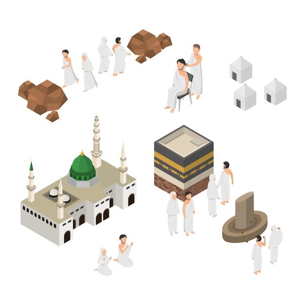 Set van hajj illustratie bedevaart in mekka isometrisch Premium Vector