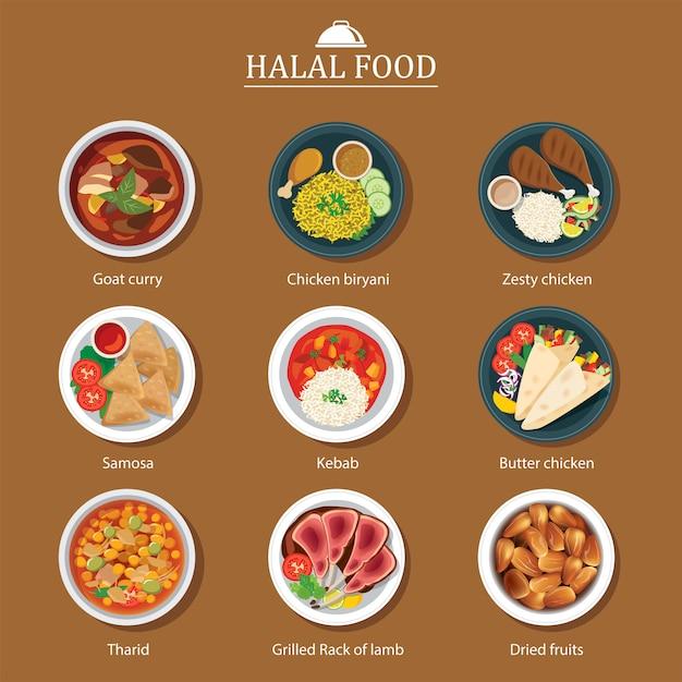Set van halal voedsel plat ontwerp Premium Vector