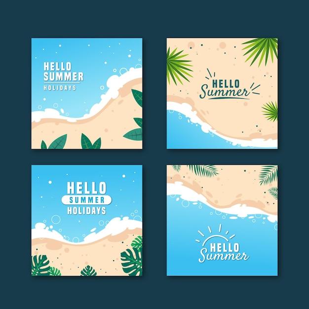 Set van hallo zomer instagram post Gratis Vector
