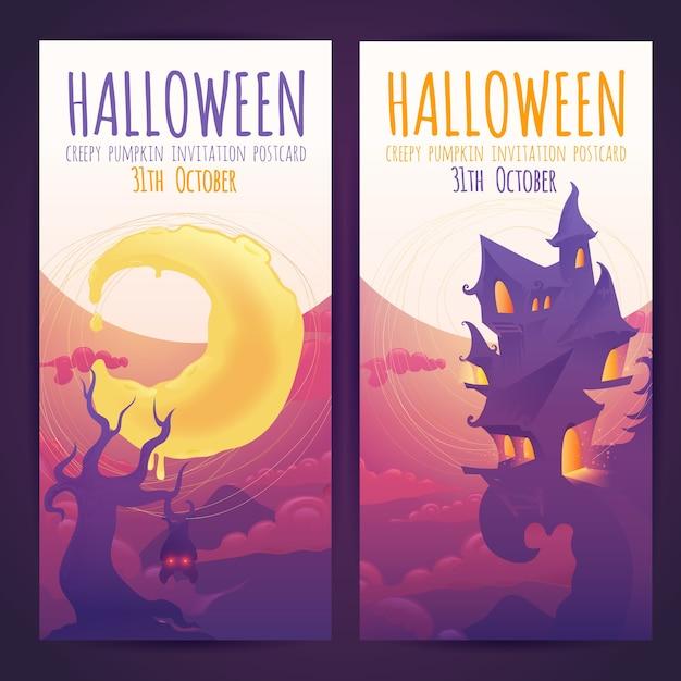 Set van halloween banners met spookachtig achtervolgd huis Premium Vector