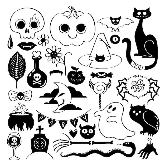 Set van halloween pictogrammen op doodle stijl Premium Vector