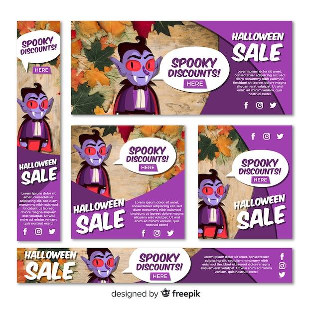 Set van halloween verkoop banners Gratis Vector