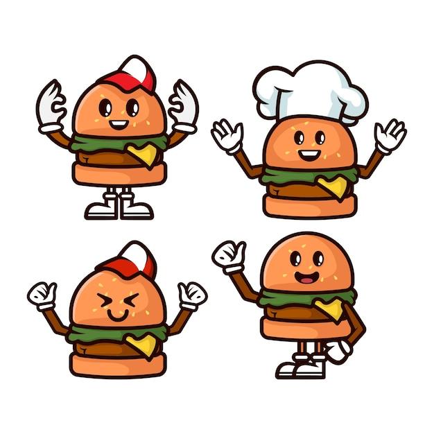 Set van hamburger mascotte illustratie Premium Vector