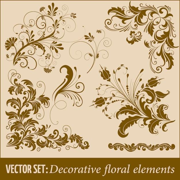 Set van hand getekende decoratieve vector bloemen elementen voor ontwerp. pagina decoratie element. Gratis Vector
