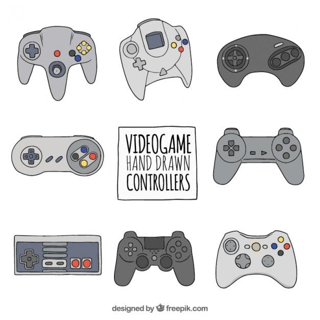Set van hand getekende video game controllers Gratis Vector