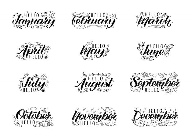 Set van hand getrokken belettering met handgeschreven namen van maanden en doodles. Premium Vector