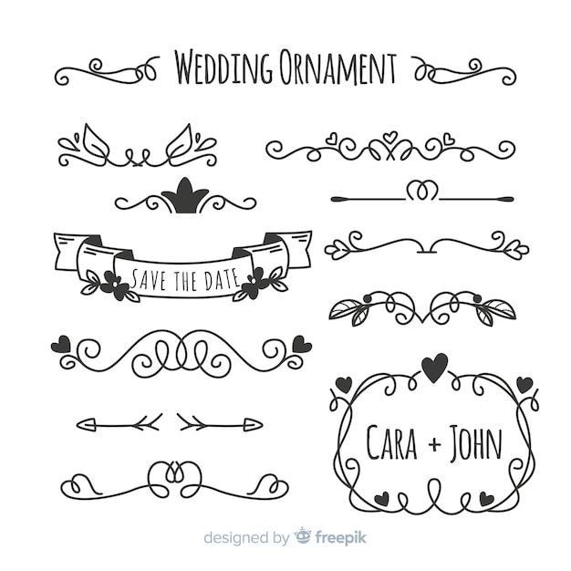 Set van hand getrokken bruiloft ornamenten Gratis Vector