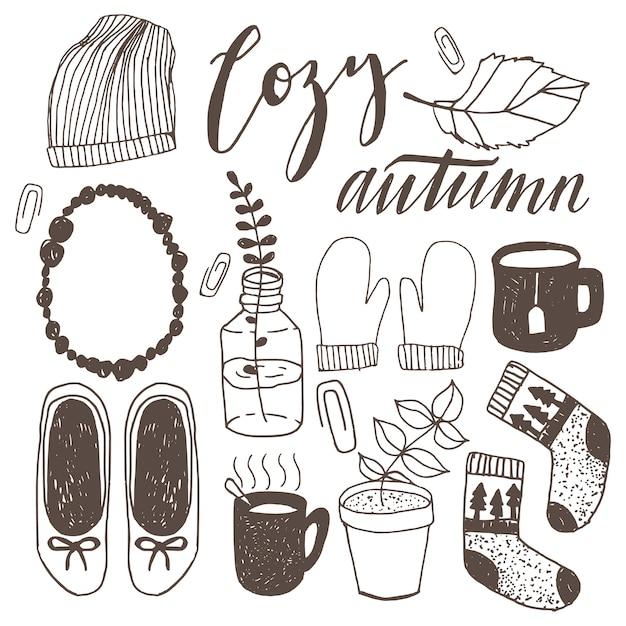 Set van hand getrokken casual stedelijke herfst doodle illustraties. hipster val vector doodles. Premium Vector