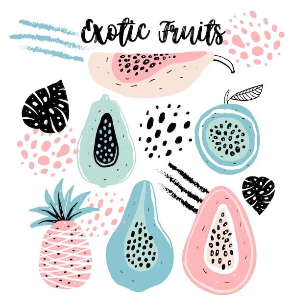 Set van hand getrokken fruit Premium Vector
