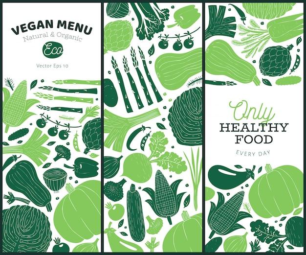 Set van hand getrokken groenten ontwerp. monochrome afbeelding. Premium Vector
