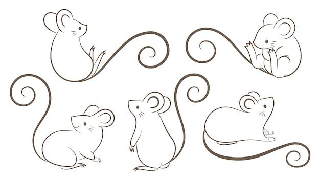 Set van hand getrokken ratten, muis in verschillende poses op witte hebben Premium Vector