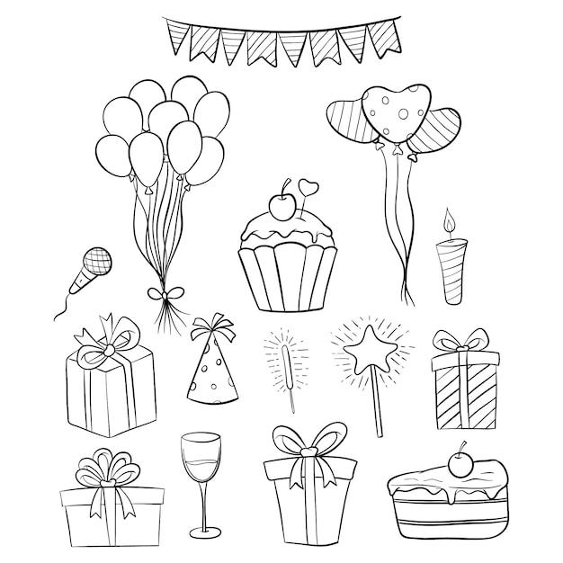 Set van hand getrokken verjaardag iconen of elementen met wit Premium Vector