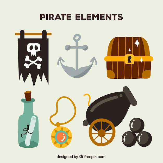 Set van handgetekende piraatelementen Gratis Vector