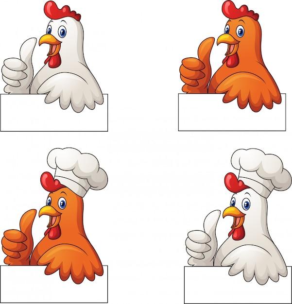 Set van hanen cartoon duim opgevend met leeg teken Premium Vector