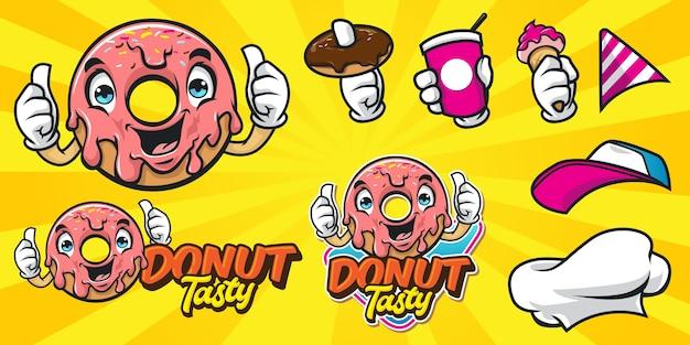 Set van happy cartoon donut logo Premium Vector