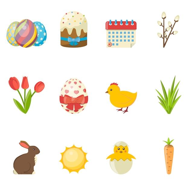 Set van happy easter-pictogrammen. vector platte illustratie Premium Vector