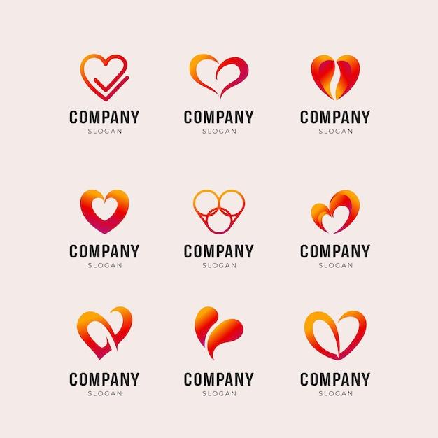 Set van hart vorm logo sjabloon Premium Vector