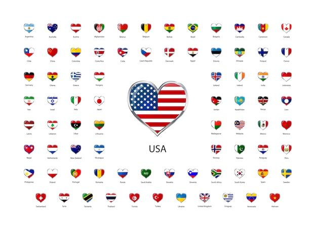 Set van hartvormige glanzende pictogrammen met metalen rand van vlaggen van soevereine staten van de wereld Premium Vector