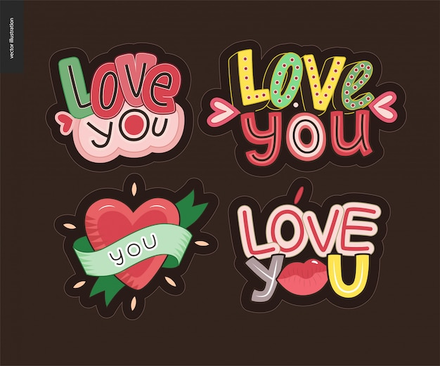 Set van hedendaagse girlie love you letter logo Premium Vector