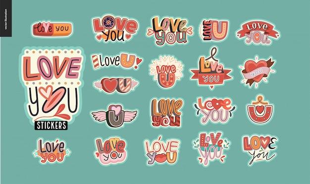 Set van hedendaagse liefde stickers Premium Vector