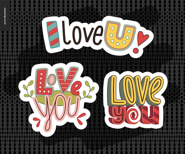 Set van hedendaagse meid love you brief Premium Vector